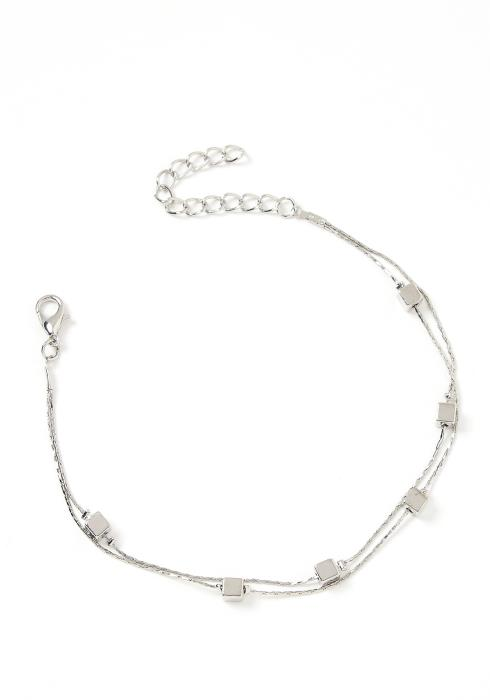 Zoey Cube Charm Silver Tier Anklet