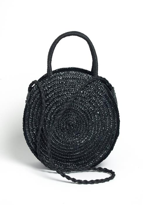Maritza Round Crossbody Black Straw Bag