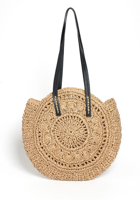 Isabella Round Straw Pattern Tote Bag