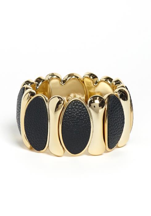 Camila Golden Leather Contrast Bracelet Cuff