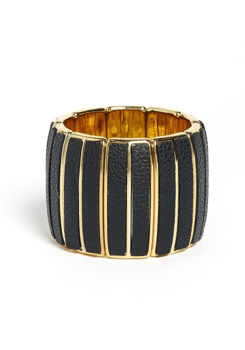 Khloe Leather Contrast Golden Bracelet Cuff
