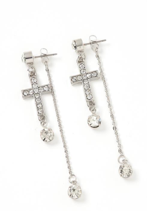 Babylon Silver Crystal Cross Backdrop Earring