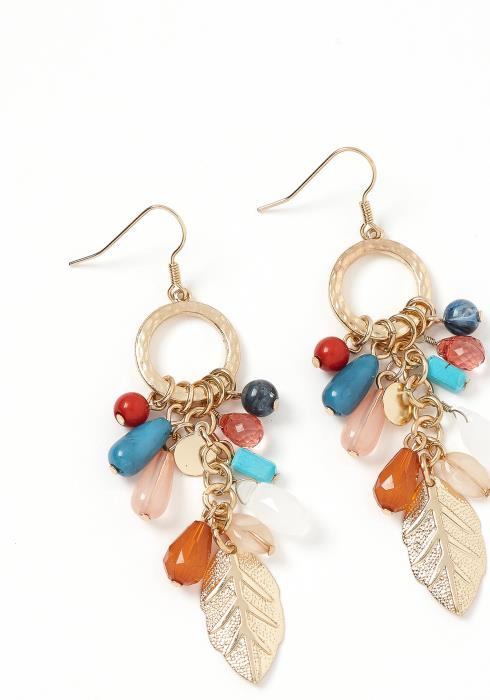 Clementine Crystal Charms Leaf Drop Earring