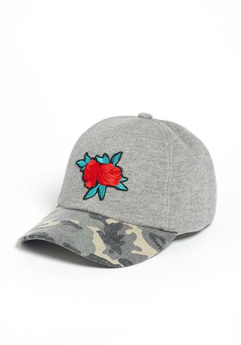 Rose Embroidery With Camo Contrast Baseball Cap