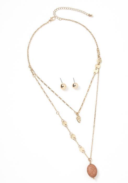Masury Vintage Stone Layered Necklace Earring Set