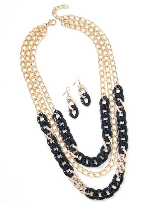 Nevaeh Chain Linked Earrings & Necklace Set