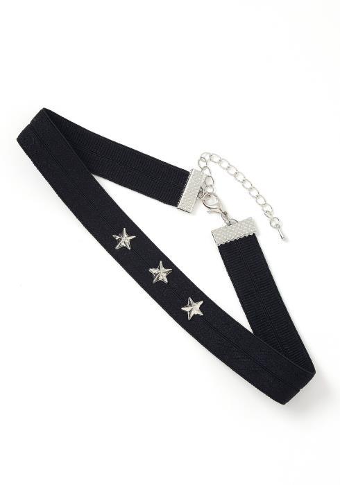 Eve Star Studded Black Choker Necklace
