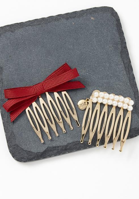 Sedro Bow Tie Pearl Hair Pin Set