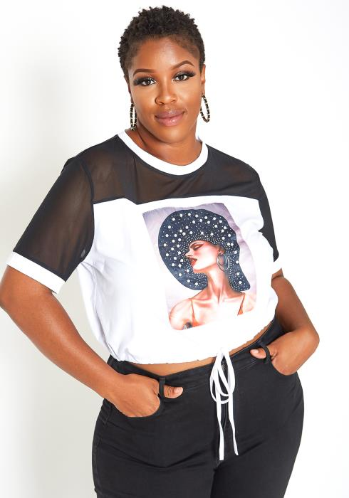 Asoph Plus Size Fashionista Mesh Contrast Drawstring Shirt