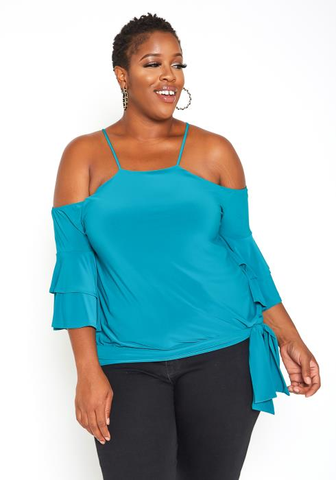 Asoph Plus Size Strappy Off Shoulder Elegant Teal Blouse