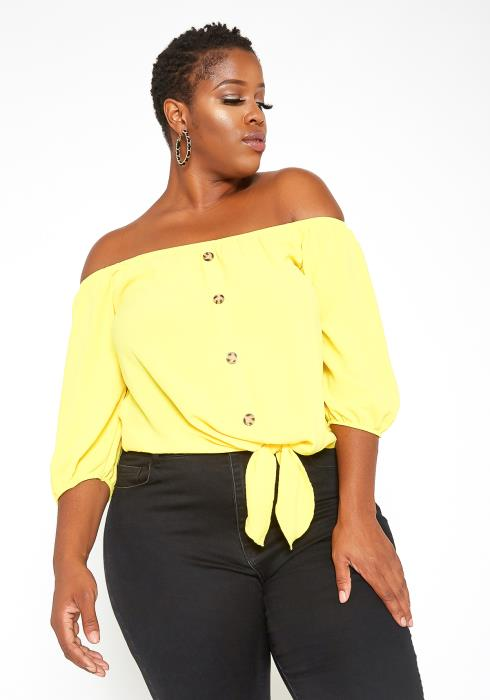 Asoph Plus Size Off Shoulder Button Hem Yellow Top