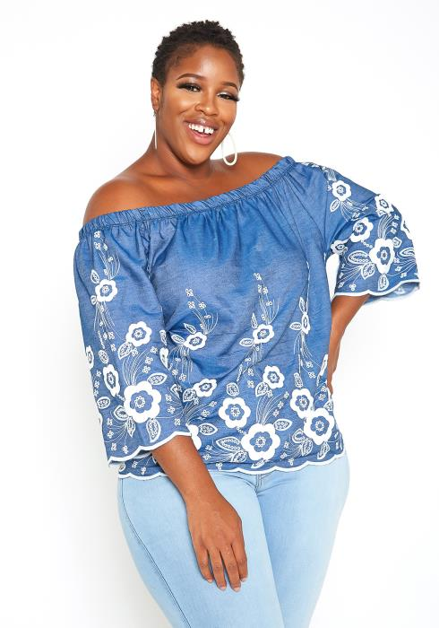 Asoph Plus Size Off Shoulder Flower Embroidery Top