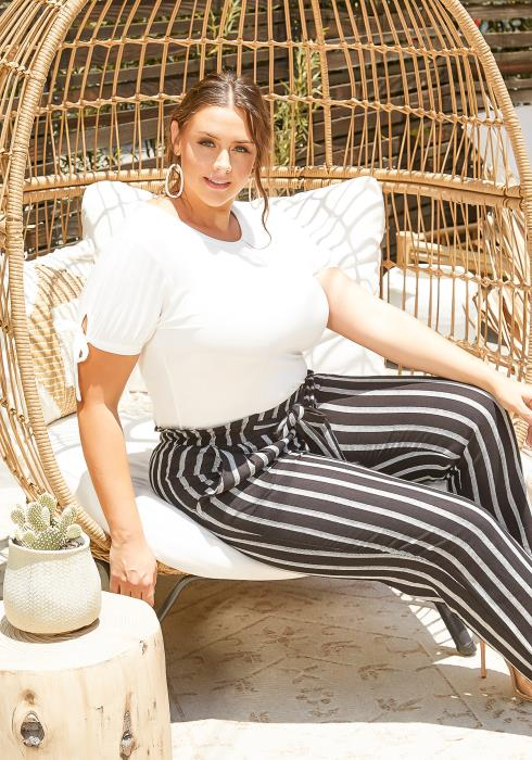 Asoph Plus Size Black Striped Waist Tie Straight Pants