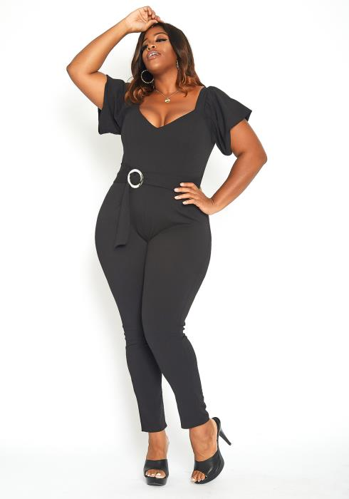 Asoph Plus Size Classy Flutter Sleeve Fitted Jumpsuit