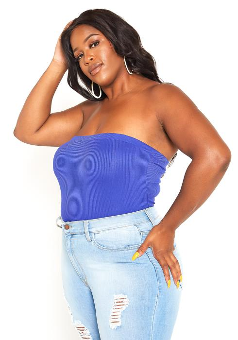 Asoph Plus Size Basic Ribbed Knit Tube Top