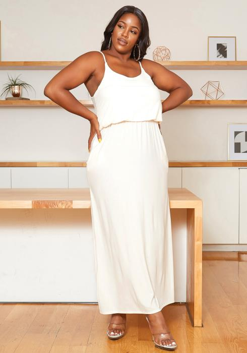 Asoph Plus Size Casual Ivory Cami Maxi Dress
