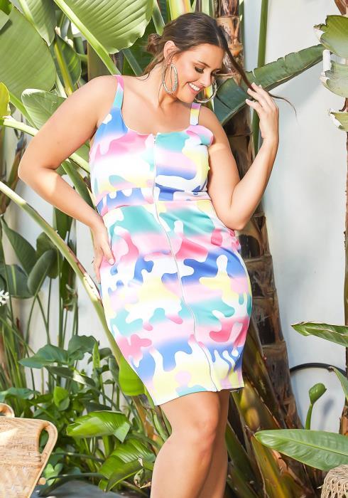 Asoph Plus Size Puzzle Piece Zip Front Cami Mini Dress