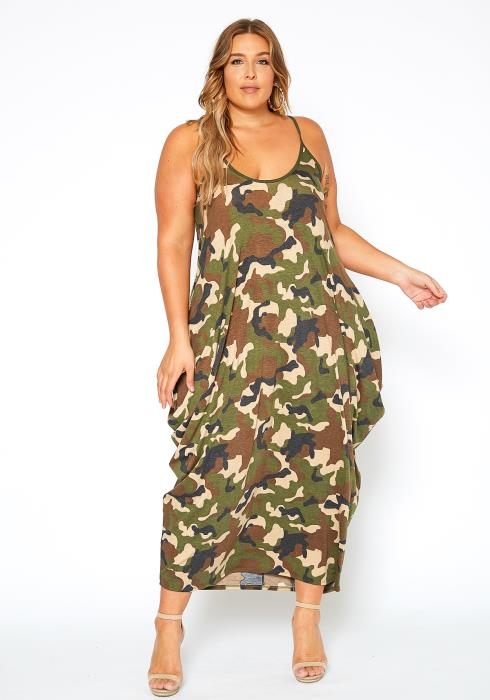 Asoph Plus Size Everyday Camo Print Harem Maxi Dress