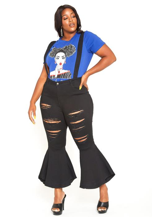 Asoph Plus Size Bell Bottom Suspender Jean
