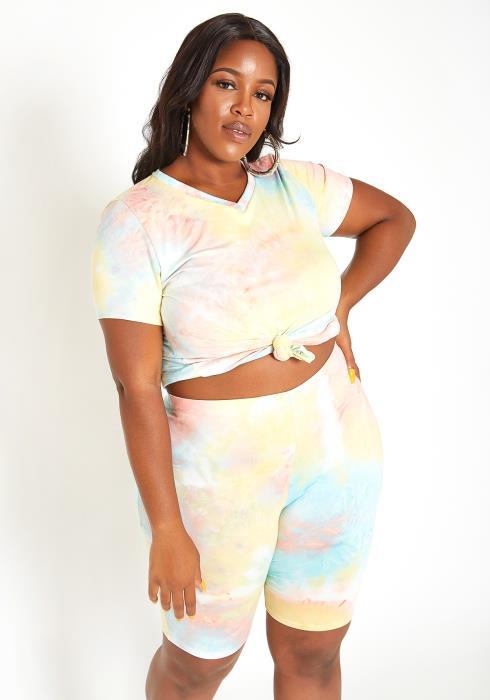 Asoph Plus Size Dreamy Pastel Tie Dye Two Piece Set
