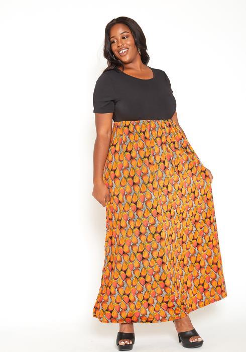 Asoph Plus Size Old Fashion Print Fit & Flare Maxi Dress