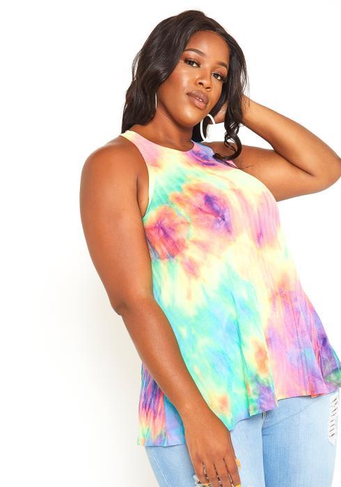 Asoph Plus Size Rainbow Tie Dye Sleeveless Top