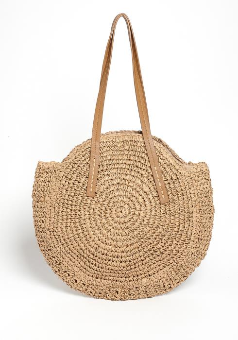 Caramelo Round Straw Pattern Tote Bag