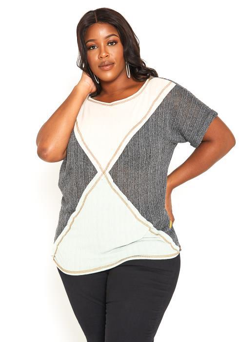 Asoph Plus Size Color Block Light Summer Knit Top