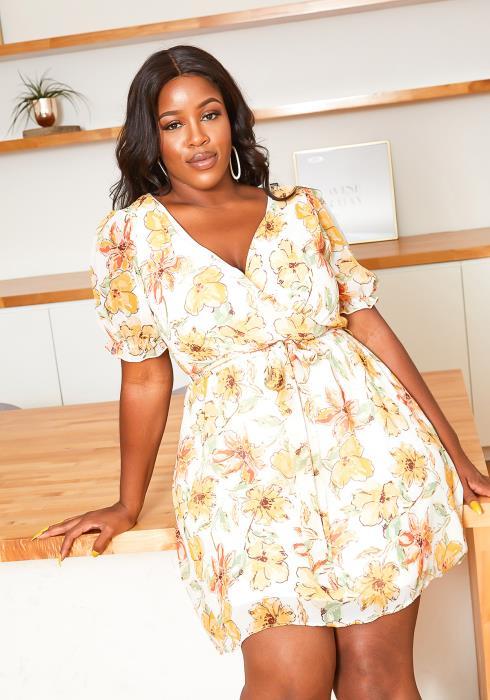 Asoph Plus Size Lovely Summer Floral Chiffon Mini dress