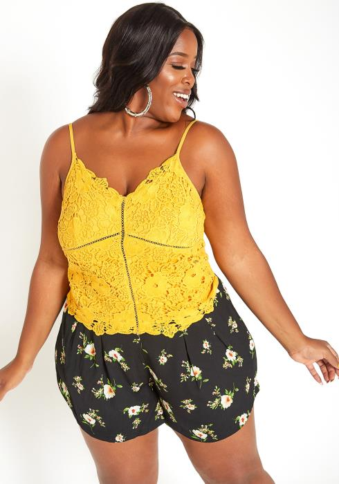 Asoph Plus Size Yellow Floral Crochet Cami Top