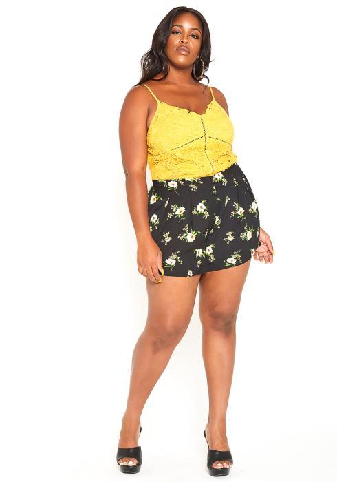 Asoph Plus Size Floral Print Casual Shorts