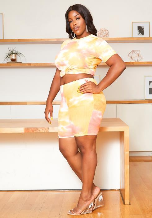 Asoph Plus Size Blushing Yellow Tie Dye Set