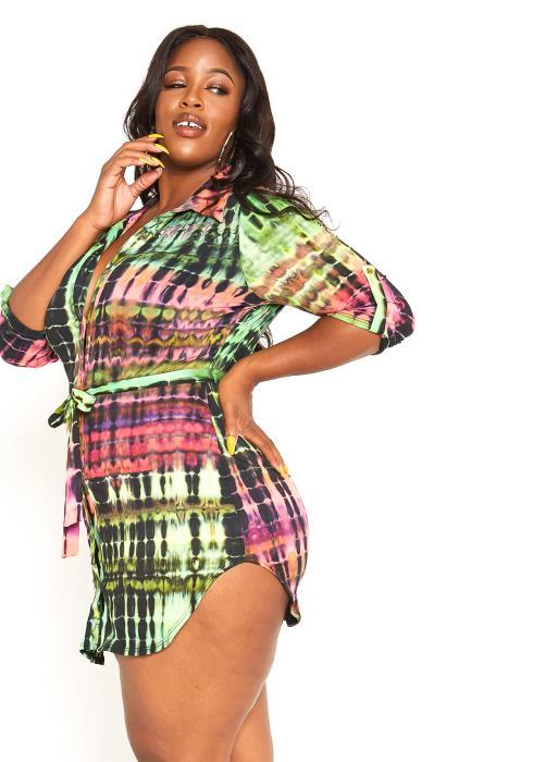 Asoph Plus Size Exotic Tie Dye Button Up Collar Mini Dress