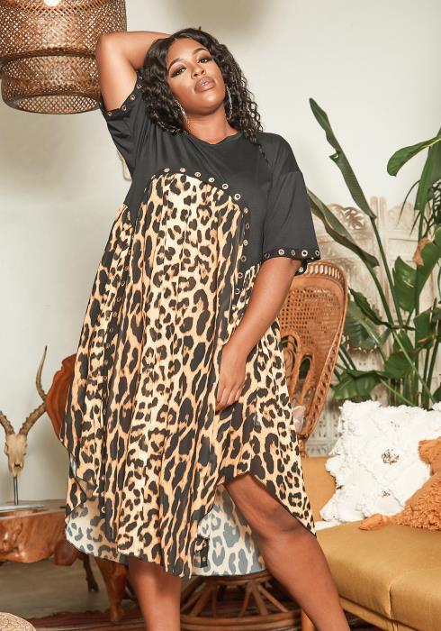 Asoph Plus Size Leopard Print Contrast Asymmetric Flare Midi Dress