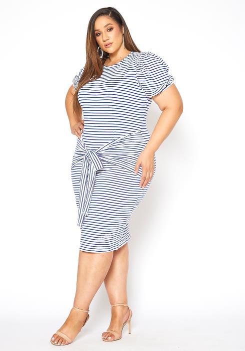 Asoph Plus Size Stripe Tie Waist Bodycon Dress