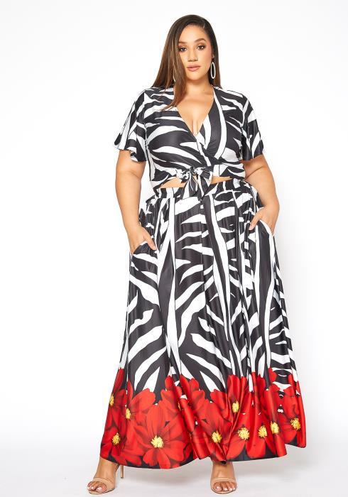 Asoph Plus Size Summer Love Wrap Crop Top & Maxi Skirt Set
