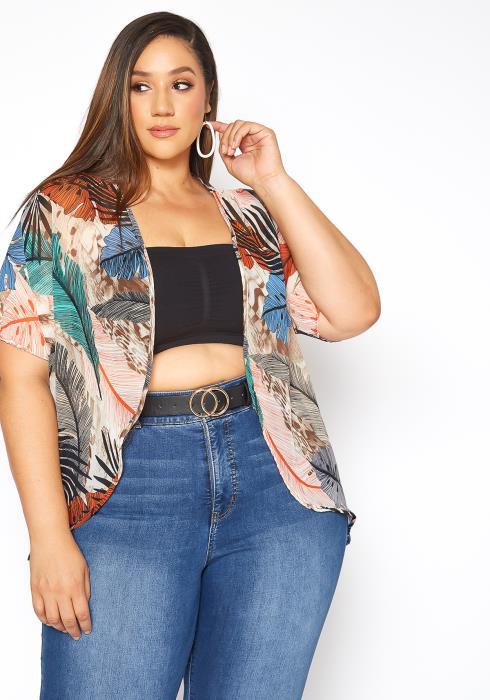 Asoph Plus Size Tropical Open Front Cardigan