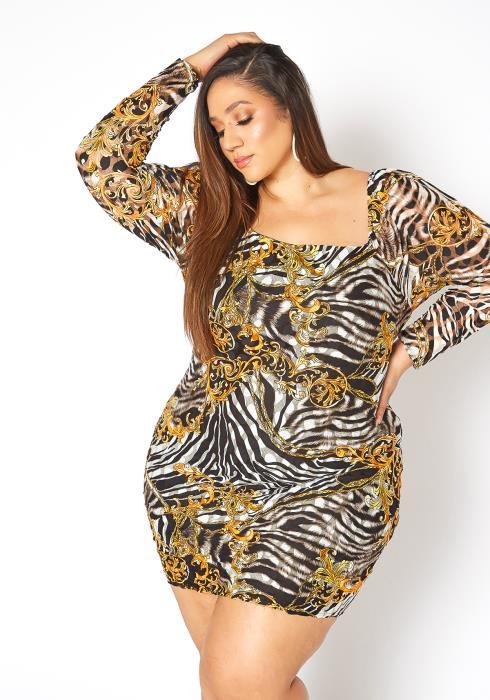 Asoph Plus Size Square Neck Zebra Print Party Dress