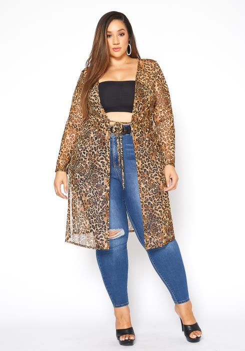 Asoph Plus Size Leopard Print Mesh Longline Cardigan