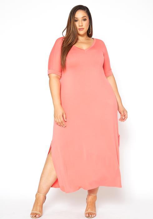 Asoph Plus Size Basic V Neck Tee Shirt Maxi Dress