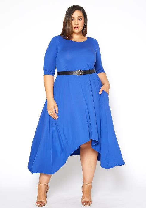 Asoph Plus Size Royal Blue Asymmetric Fit Flare Midi Dress