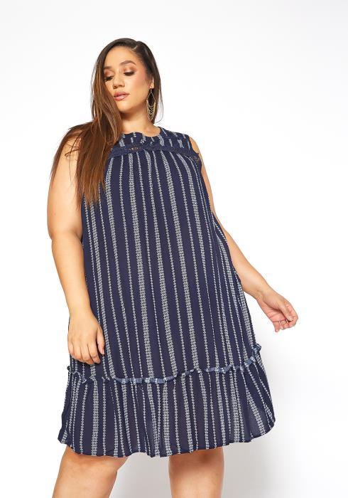 Asoph Plus Size Old Fashioned Striped Sleeveless Flare Mini Dress