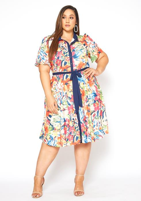 Asoph Plus Size Floral Print Button Up Collar Shirt Dress