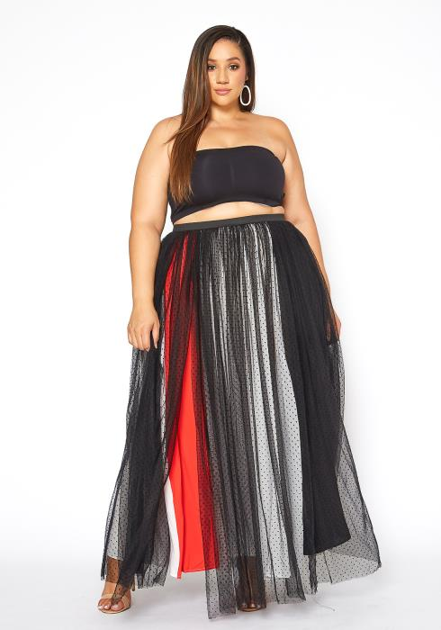 Asoph Plus Size Polka Dot Mesh Overlay Color Splice Maxi Skirt