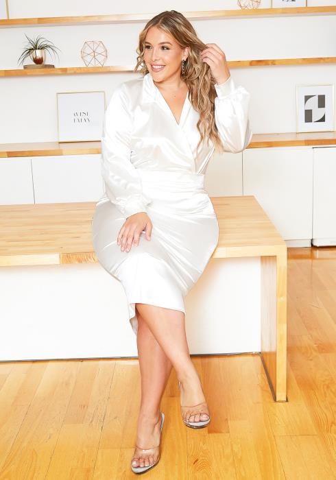 Asoph Plus Size Ivory Satin Open Collar Bodysuit & Pencil Skirt Set