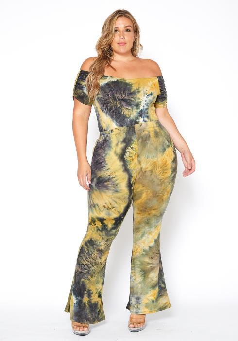 Asoph Plus Size Tie Dye Off Flared Hem Pants