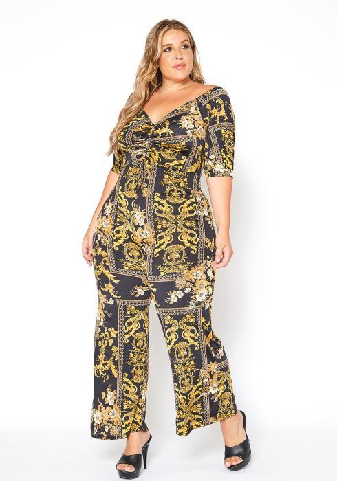 Asoph Plus Size Royal Print Ruched Jumpsuit