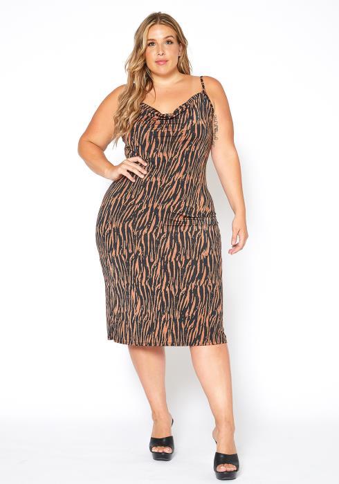 Asoph Plus Size Zebra Print Cowl Neck Midi Dress