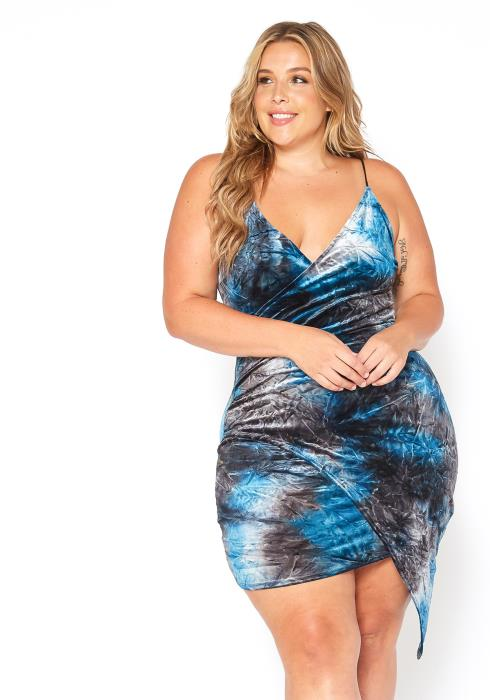 Asoph Plus Size Midnight Velvet Tie Dye Bodycon Dress