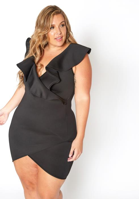 Asoph Plus Size Ruffle Overlay Special Occasion Mini Dress